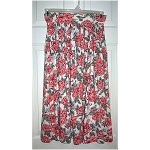 Vintage 90s Rose Print Midi Skirt with Pockets! S